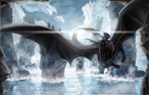 Night Fury - Train Your Dragon Speed Art - 7hrs by IceDragonhawk