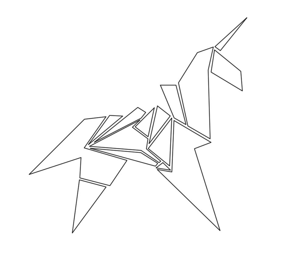 Silver Origami Unicorn Pendant, Blade Runner | Allegro Arts | 900x933