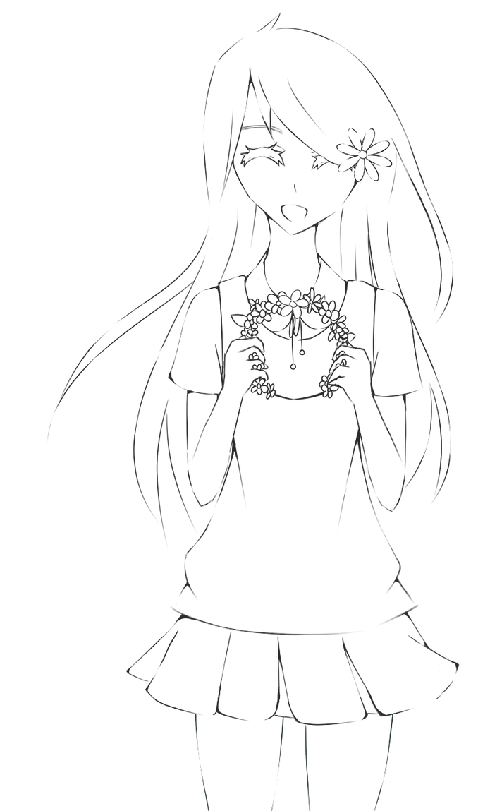 Anime Girl Lineart : Flowercrown anime girl lineart by akumadrawing on deviantart