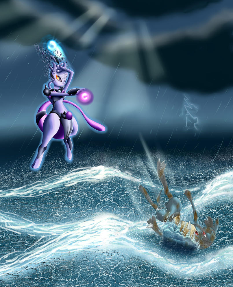 Mewtwo VS Lucario by Eloylie on DeviantArt
