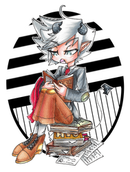 Yuichi reading some books