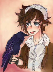 Arius and his crow (AI coloration) by Eloylie