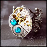 Steampunk Ocean Blue Ring 002