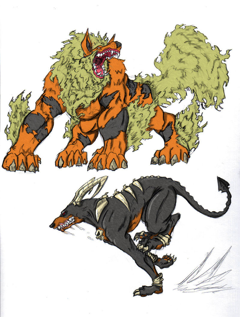 Arcanine and houndoom