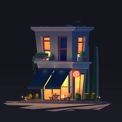 The Cafe - Night by LynnChenArt