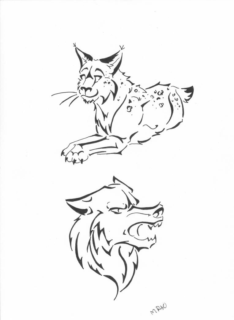 lynx and wolf tattoo design by flameetain on deviantart. Black Bedroom Furniture Sets. Home Design Ideas