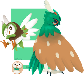 Rowlet Evolution by Chirpy-chi