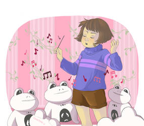 undertale - frisk and froggits by Insunnine