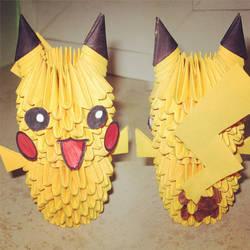 3D origami Pikachu by callmepandachan
