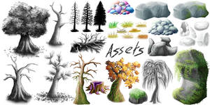 Collage of sketch assets