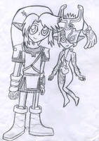 Chibi Link and Midna by Luifex