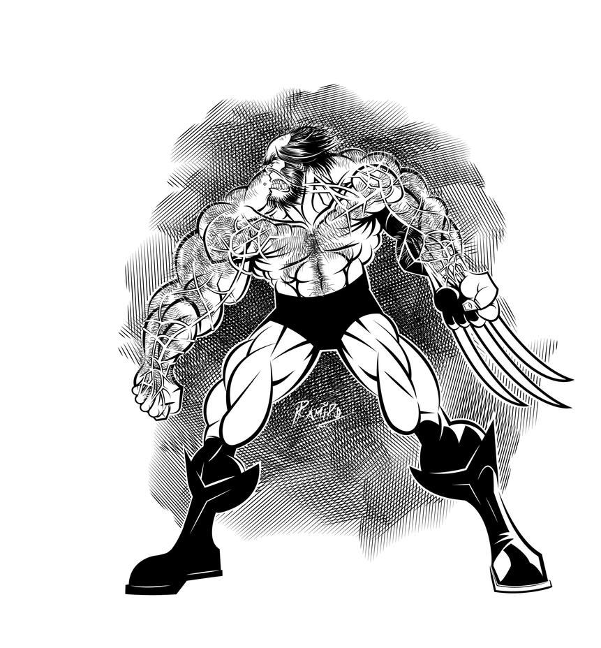 Old Wolverine Inks in Illustrator CS6 by Montotus