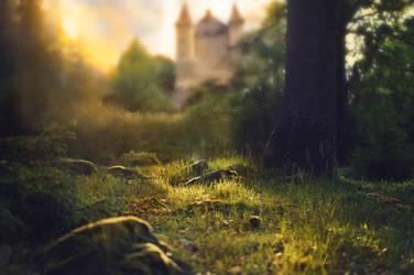 Castle Forest Sunset Background by Jeni-Sue