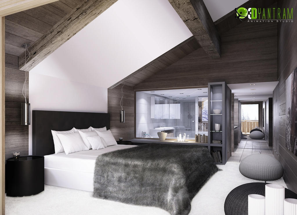 Interior Design Rendering For 3D Wooden Bed Room by 3dinteriorrendering