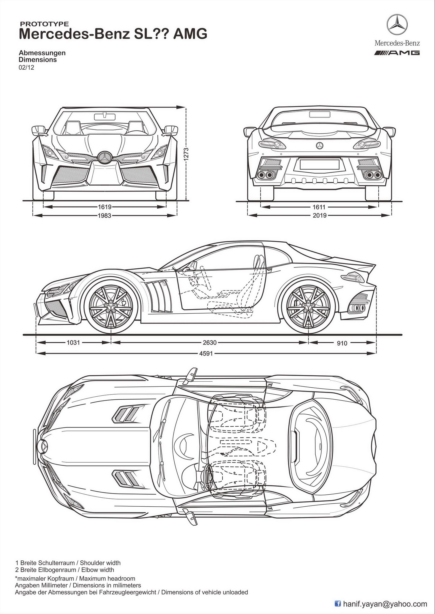 Mercedes Benz Sl Amg Concept Blueprints By Hanif Yayan On