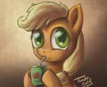 Filly Applejack enjoys farm fresh Cider