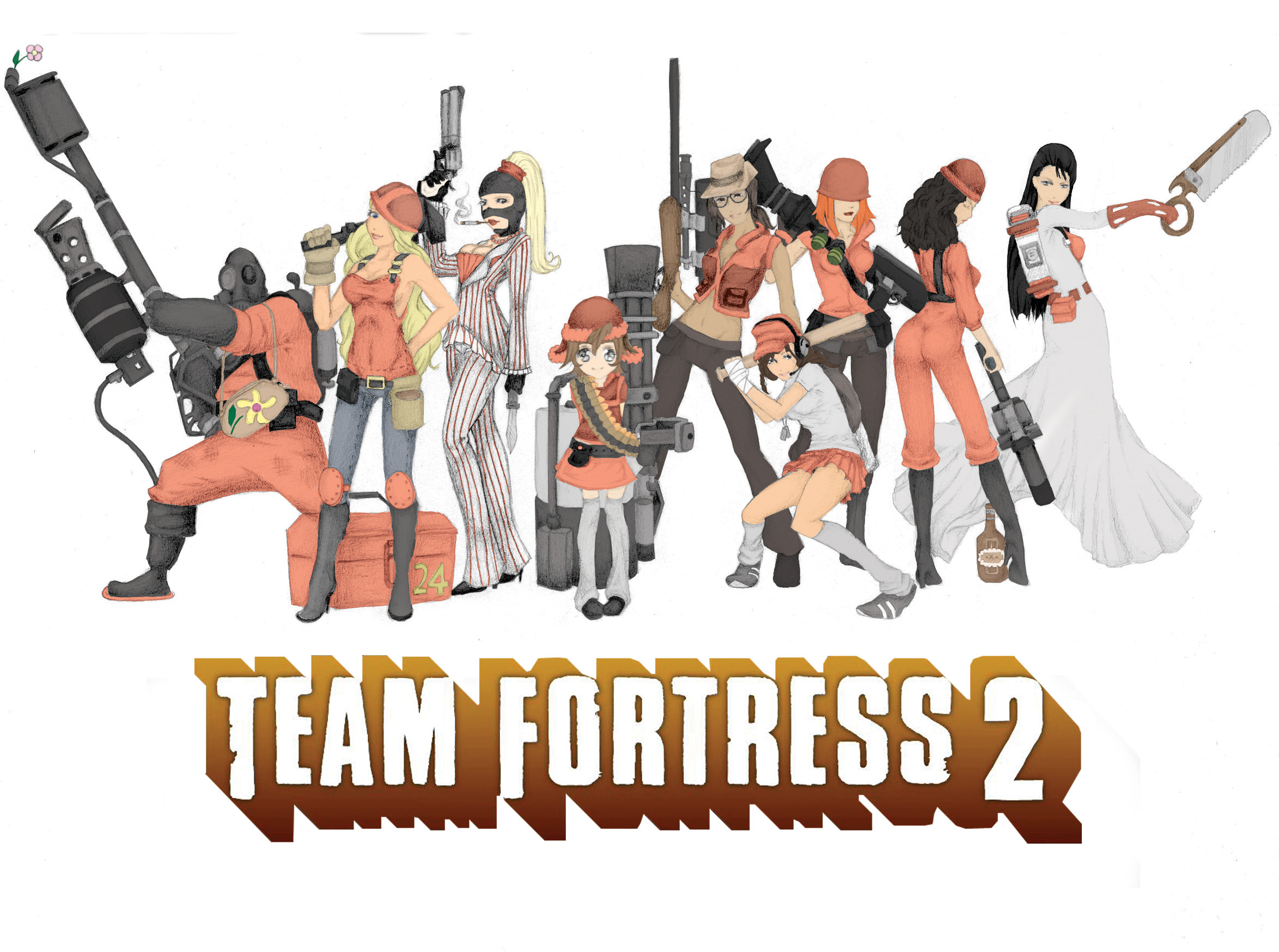 Team fortress 2 girls by silentricochet on deviantart for Team fortress 2 coloring pages