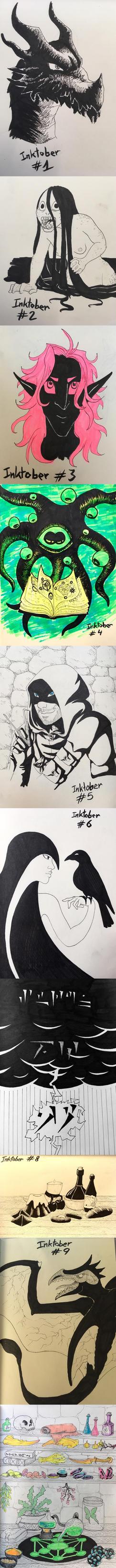 Inktober 2017 - days 1 to 10 by zokwani