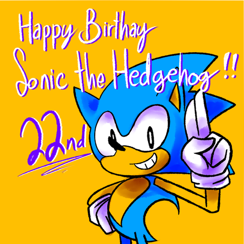Happy 22 birthday, Sonic (Drawing) by JanetAteHer