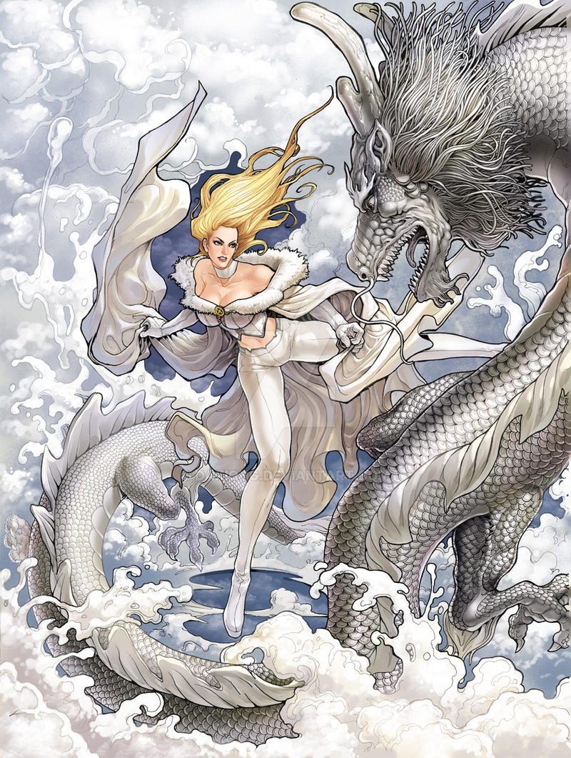 Emma Frost with Ice Dragon by daxiong