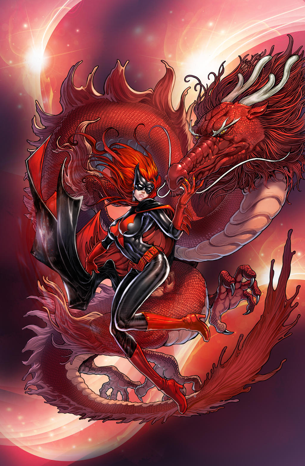 Batwoman with red dragon by daxiong on DeviantArt