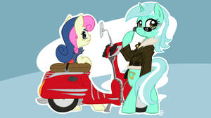 Lyra and Bon-Bon with a moped