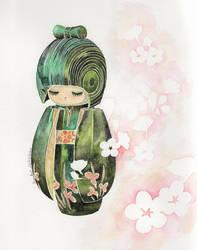 Hanakosode kokeshi by Fuyuko7