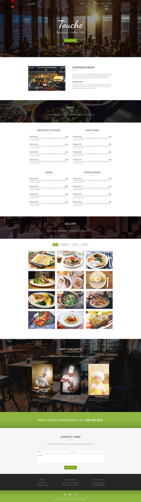 Touche - Free Restaurant Website Template by templatewire