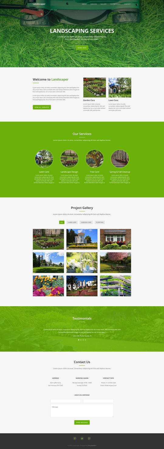 Landscaper - Free Landscaping Website Template by templatewire