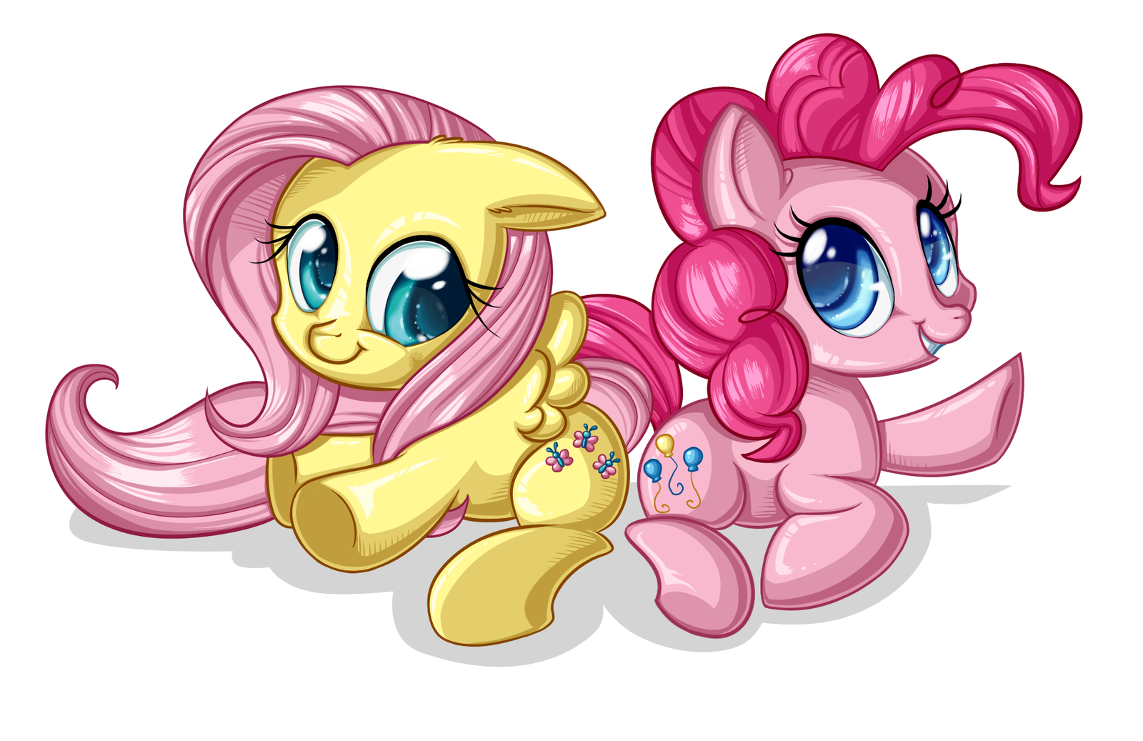Chibis Fluttershy and Pinkie Pie :: YaY! by Pauuh