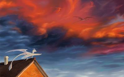 Fiery sky by Egretink