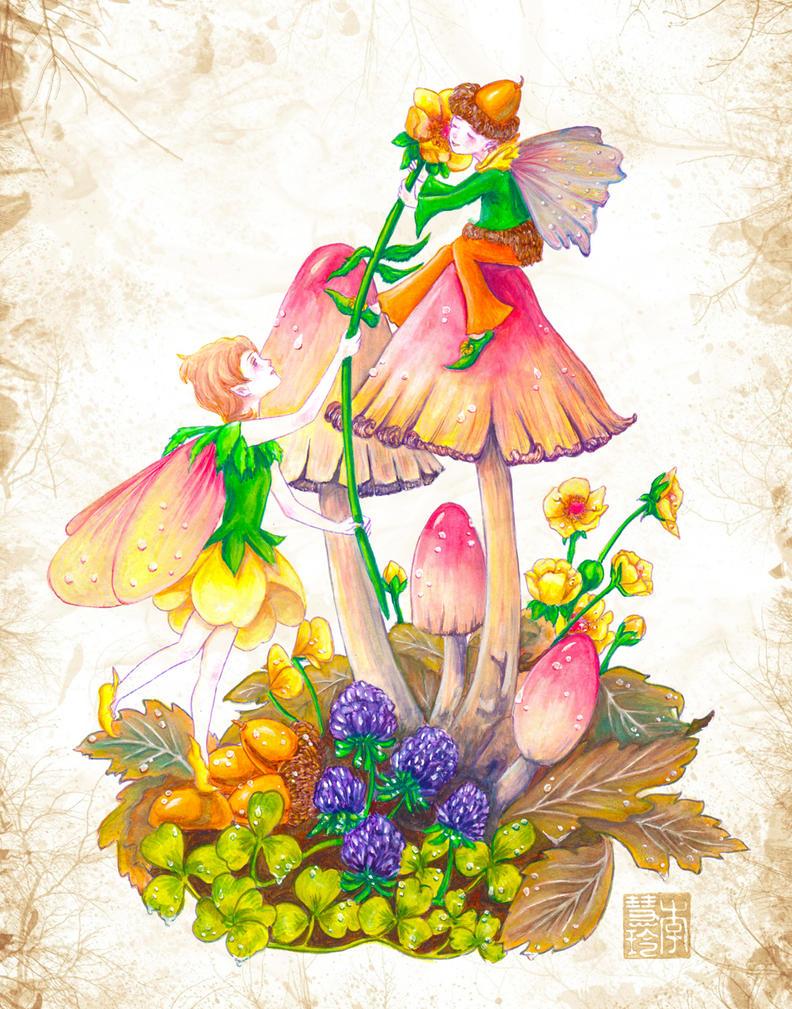 Study of Myrea Pettit's Buttercup and Acorn Fairy by dreamstone