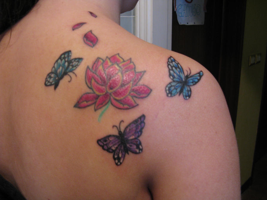 Lotus and butterfly tattoo by 91elena91 on deviantart for Flower and butterfly tattoo