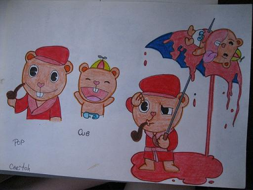 Pop and Cub Happy Tree Friends by cariitooh on DeviantArt
