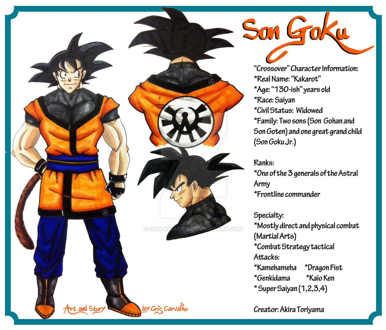Character Design Dragon Ball Z : Crossover character sheet son goku by gnd kicacris on