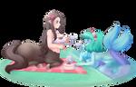 Commish: Monster girl Teaparty