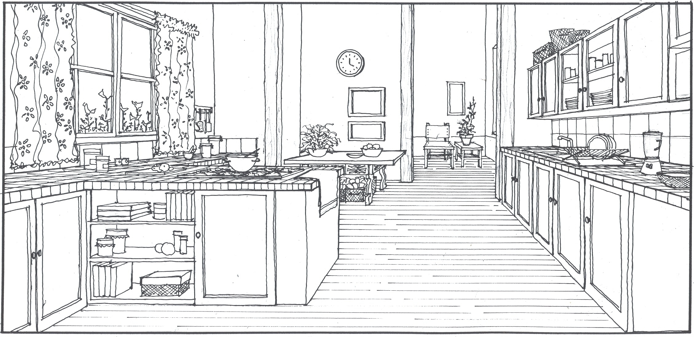 Interior Design Sketches Kitchen unique interior design sketches kitchen drawing glamorous ideas