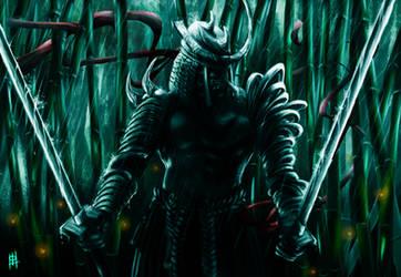 Samurai in the night by Ozumilker