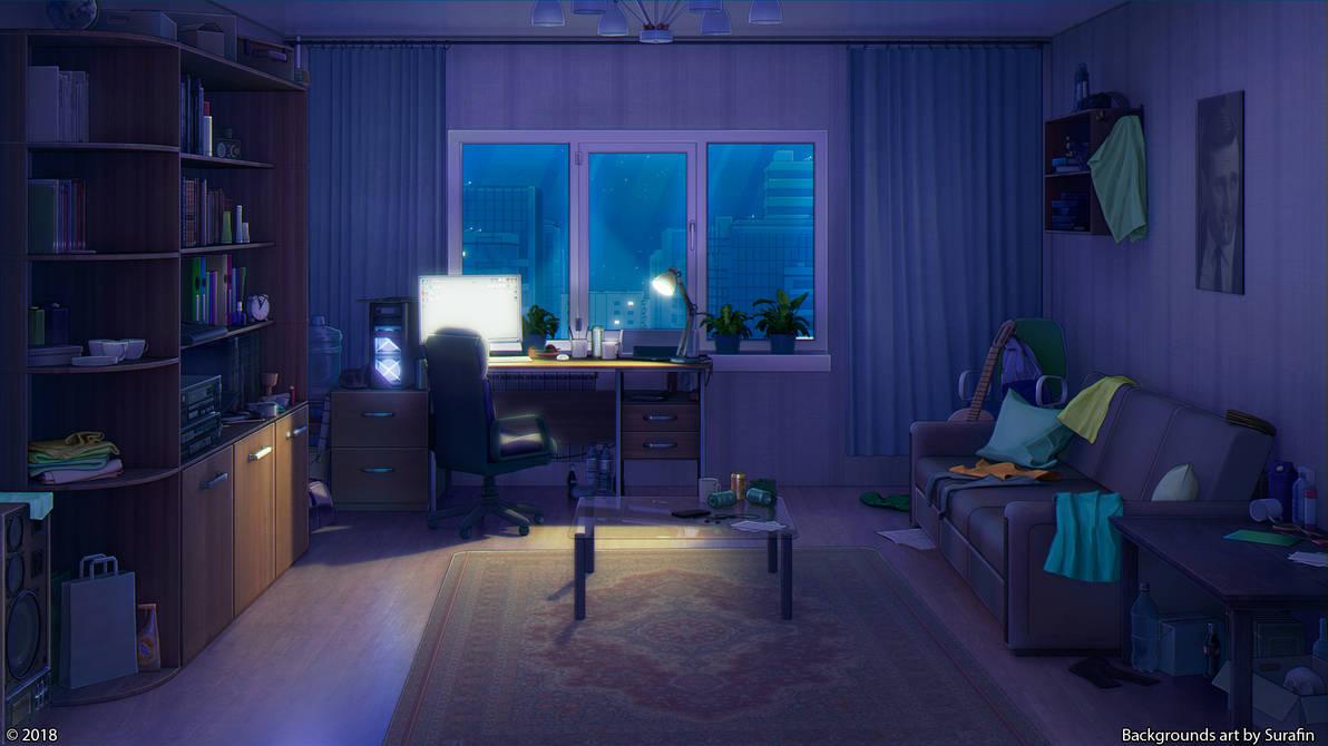 Living Room Night By Surafin On Deviantart