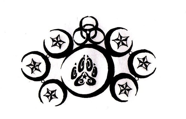 Tribal crescents biohazard by lone wolf wandering on for Tribal biohazard tattoo designs