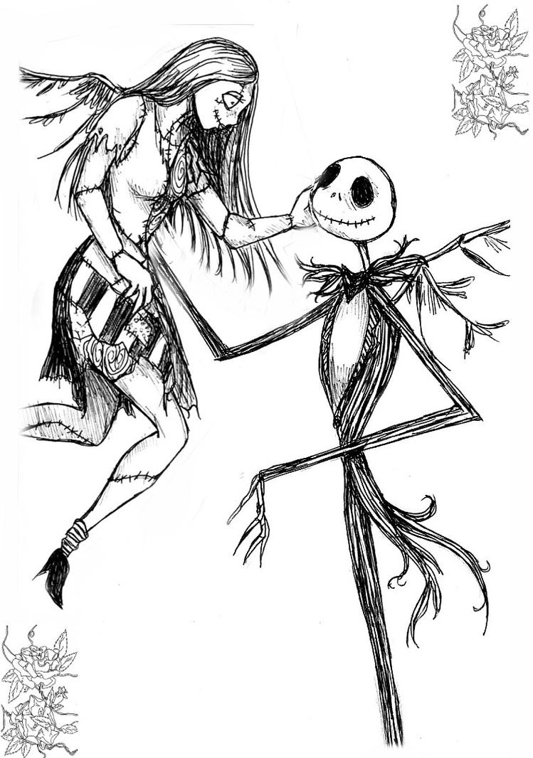 By genkitenshi on deviantart for Jack and sally coloring pages