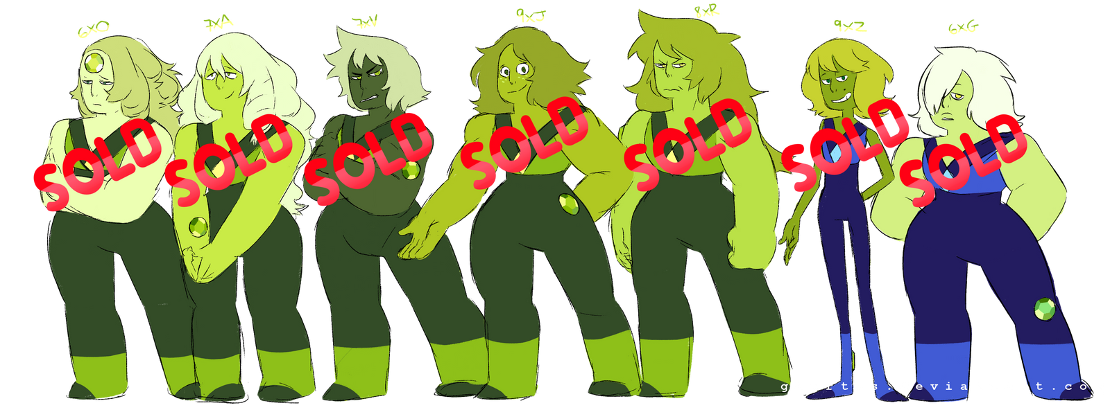 Green Amethysts - Sketchy Paypal Adopts (CLOSED) by Gaartes