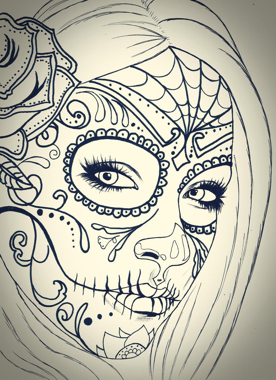 skull girl sketch by carldraw on deviantart. Black Bedroom Furniture Sets. Home Design Ideas