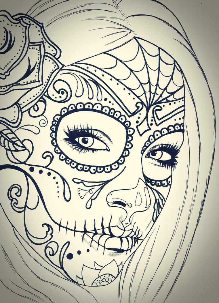 Skull girl sketch by carldraw