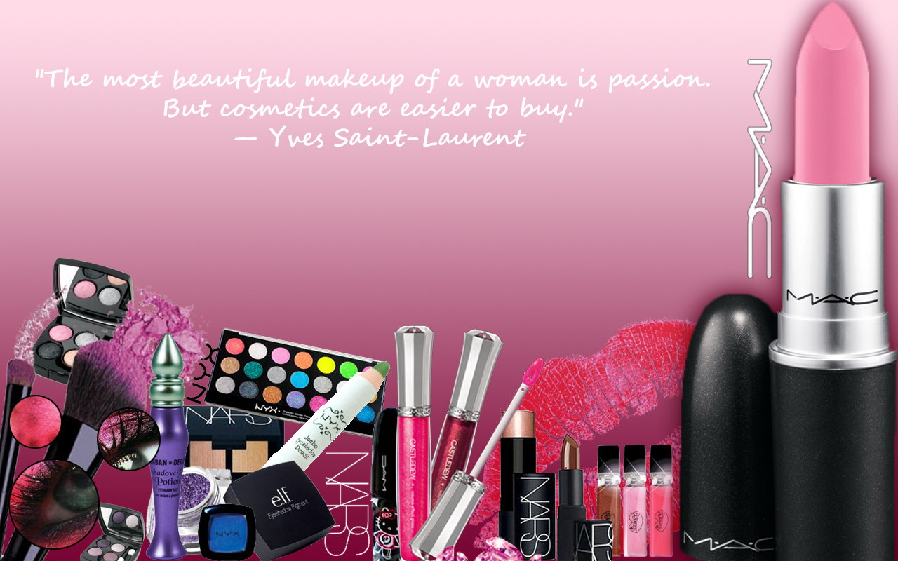 Makeup products collage