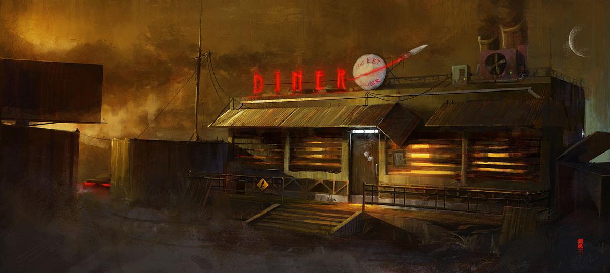 Roadside diner by tituslunter on deviantart for Diner artwork