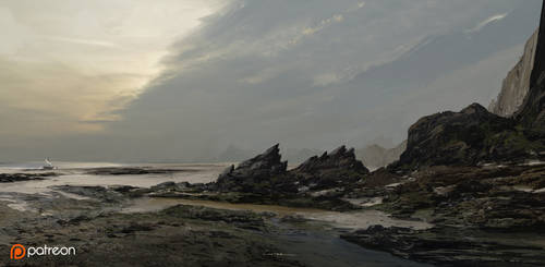 Arrival on a rocky Shore by TitusLunter