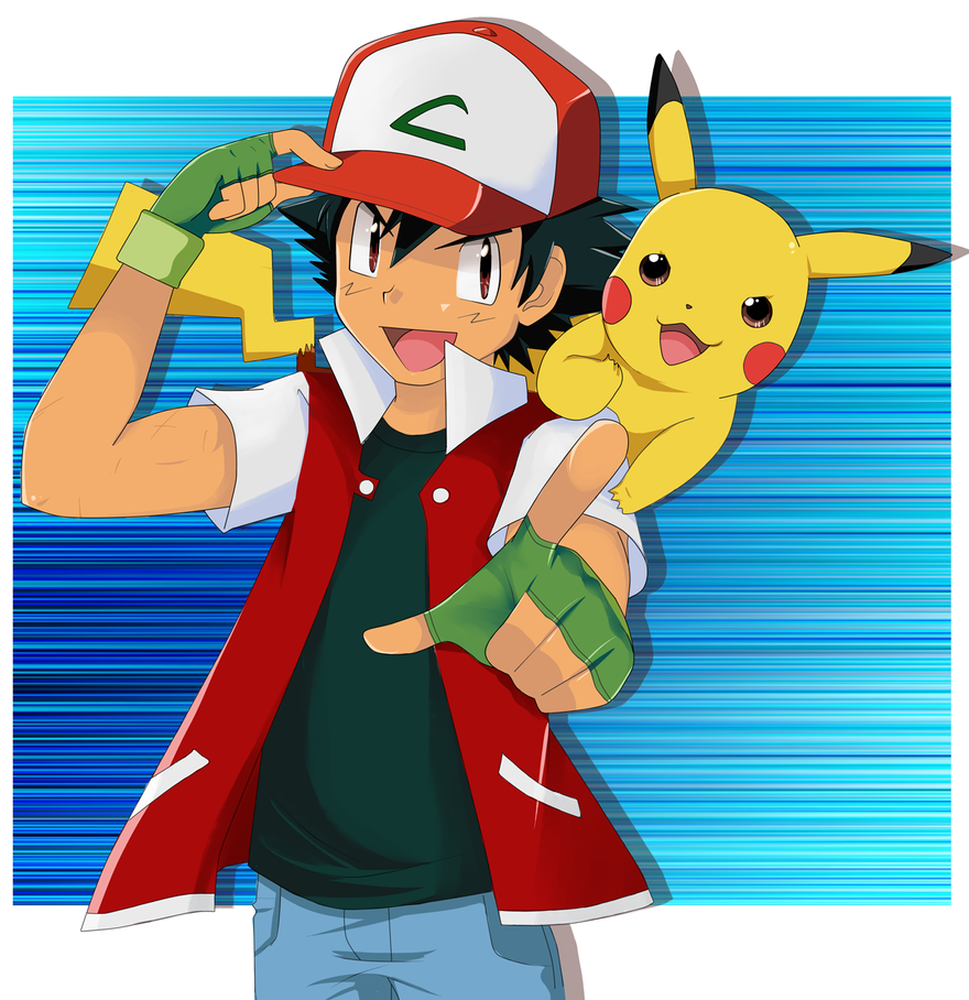 Ash and pikachu by skydrew on deviantart