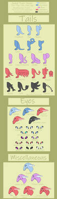 Jackyl Trait Sheet Part Two - Tails, Eyes, Misc by Exotic-Supernova