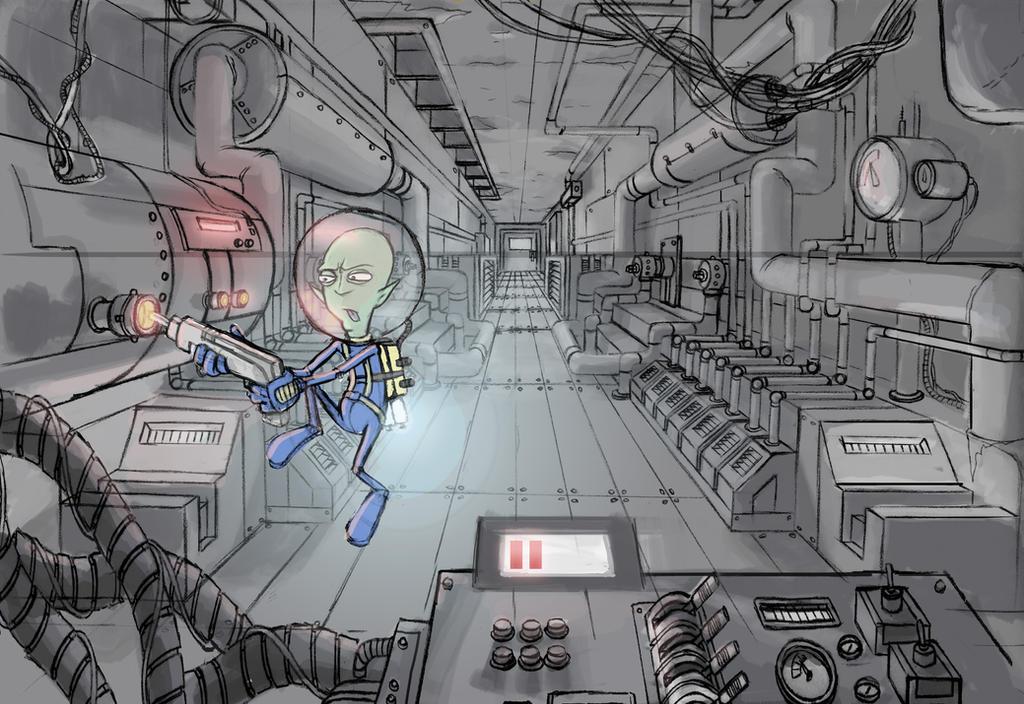 Spaceship Engine Room By Drone Otd Obsone